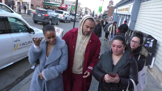 stockvideo's en b-roll-footage met jesse williams taylour paige at the sundance film festival on main street in park city utah in celebrity sightings in park city utah - sundance film festival