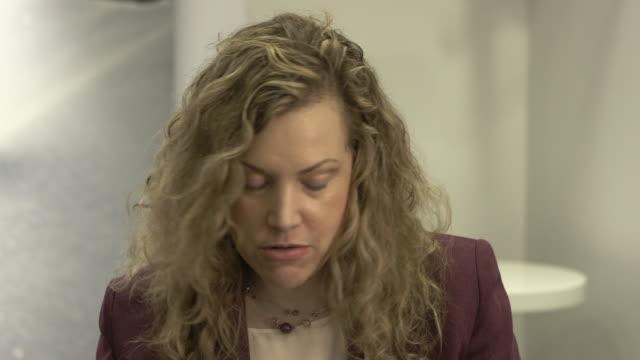 stockvideo's en b-roll-footage met interview jesselyn radack on people in the drone program being in agreement with its objectors at 'national bird' interviews 66th berlin... - internationaal filmfestival van berlijn 2016