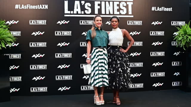 jessica alba and gabrielle union attend la's finest photocall at villamagna hotel on june 10 2019 in madrid spain - photo call stock videos & royalty-free footage