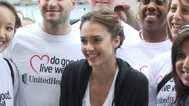 jessica alba and united healthcare volunteers at the 13th annual eif revlon run/walk for women at new york ny - revlon stock videos and b-roll footage