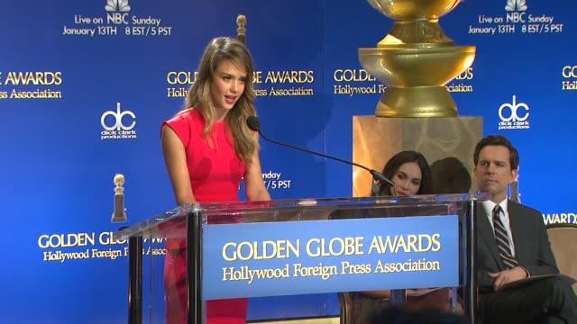 jessica alba announces the 70th annual golden globe awards nominees at the 70th annual golden globe awards nominations announcement, 12/11/12 beverly... - beverly hills点の映像素材/bロール