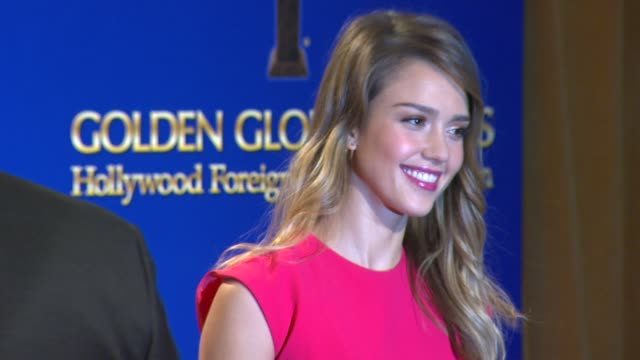 jessica alba at the 70th annual golden globe awards nominations announcement, 12/11/12 beverly hills ca - beverly hills点の映像素材/bロール