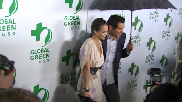 jessica alba, cash warren at the global green usa's 7th annual pre-oscar party at hollywood ca. - oscar party stock videos & royalty-free footage