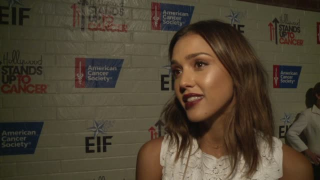 INTERVIEW Jessica Alba on the need for cancer research at Hollywood Stands Up To Cancer on in Los Angeles California