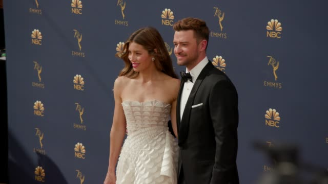 jessica biel and justin timberlake at the 70th emmy awards arrivals at microsoft theater on september 17 2018 in los angeles california - justin timberlake stock-videos und b-roll-filmmaterial