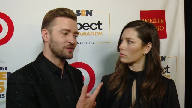 interview jessica biel and justin timberlake on what it means to be receiving this honor talks about the glsen student ambassadors and what we need... - justin timberlake stock-videos und b-roll-filmmaterial