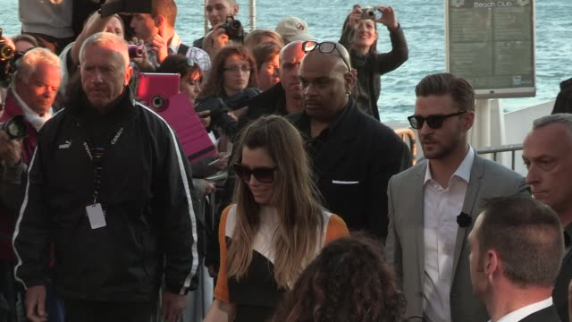 jessica biel; justin timberlake - celeb' sightings on may 20, 2013 in cannes, france - justin timberlake stock videos & royalty-free footage