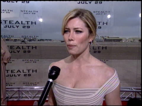 Jessica Biel on it being a while since the last film about jet fighters at the 'Stealth' San Diego Premiere at Naval Air Station North Island in...