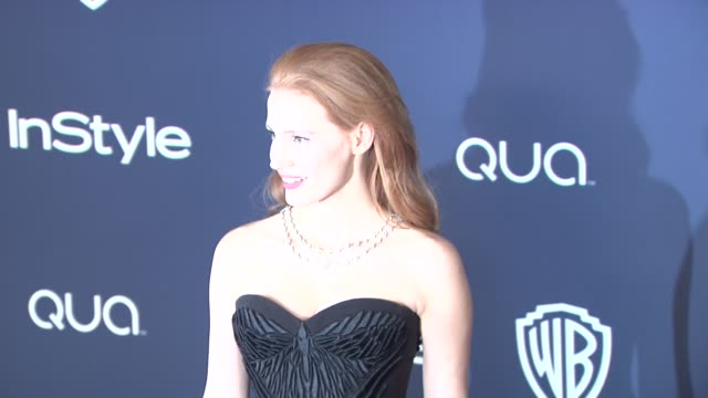 jessica chastain at 2014 instyle and warner bros. 71st annual golden globe awards post-party at the beverly hilton hotel on in beverly hills,... - the beverly hilton hotel点の映像素材/bロール