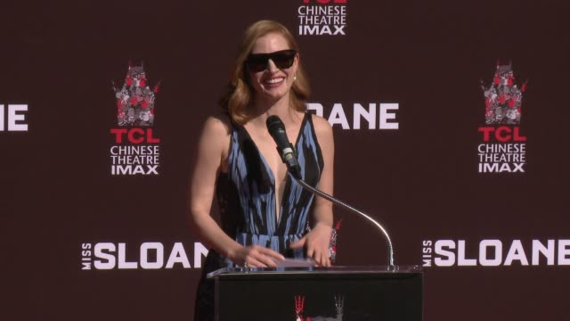 SPEECH Jessica Chastain at Jessica Chastain Puts HandprintsFootprints In Cement at TCL Chinese Theatre IMAX on October 03 2016 in Hollywood California