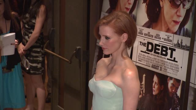 Jessica Chastain at the 'The Debt' New York Premiere at New York NY