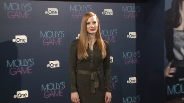 jessica chastain attends 'molly's game' madrid photocall at ritz hotel - fototermin stock-videos und b-roll-filmmaterial