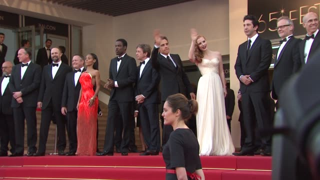 jessica chastain david schwimmer ben stiller martin short jada pinkett smith and chris rock at madagascar 3 europe's most wanted premiere 65th cannes... - martin short stock videos & royalty-free footage