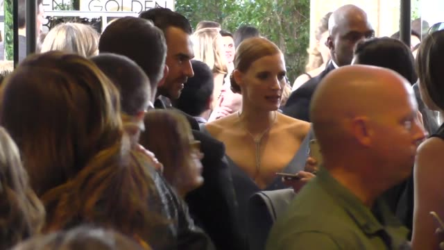 Jessica Chastain Gian Luca Passi de Preposulo outside the Golden Globe Awards at Beverly Hilton Hotel in Beverly Hills in Celebrity Sightings in Los...