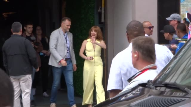jessica chastain greets fans outside a taping of conan o'brien at comiccon 2019 in san diego on july 17 2019 at celebrity sightings in san diego - conan o'brien stock videos and b-roll footage
