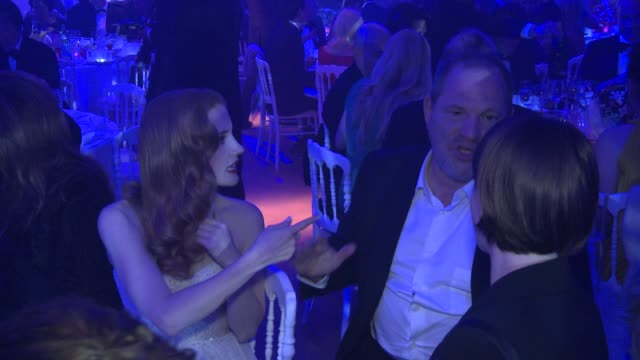 Jessica Chastain Harvey Weinstein at Haiti Carnival In Cannes Gala Dinner on May 21 2012 in France
