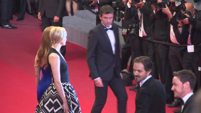 jessica chastain james mcavoy jess weixler at 'the disappearance of eleanor rigby' red carpet at grand theatre lumiere on may 17 2014 in cannes france - grand theatre lumiere stock videos & royalty-free footage