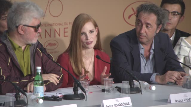 INTERVIEW Jessica Chastain on feeling connected to the Cannes Film Festival at Jury Press Conference on May 17 2017 in Cannes France