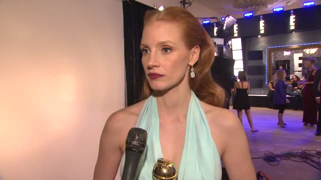 INTERVIEW Jessica Chastain on roles for women in Hollywood and on her role in the film 'Zero Dark Thirty' at the 70th Annual Golden Globe Awards...