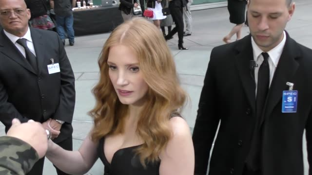 INTERVIEW Jessica Chastain talks about her near plane crash in Las Vegas while greeting fans before The Son Premiere at ArcLight Theatre in Hollywood...