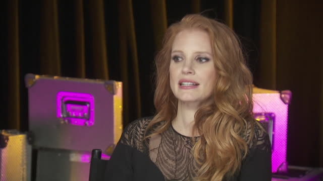 jessica chastain talks about the world being one large community while backstage at the chime for change concert, which benefits women's rights... - human rights or social issues or immigration or employment and labor or protest or riot or lgbtqi rights or women's rights stock videos & royalty-free footage