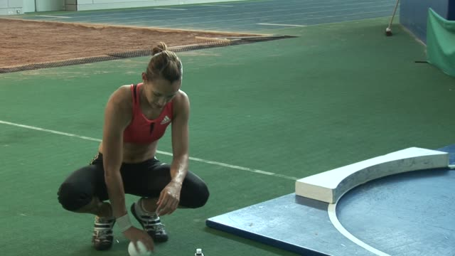 jessica ennis shot put training on august 08, 2007 in sheffield, england - shot put stock videos & royalty-free footage