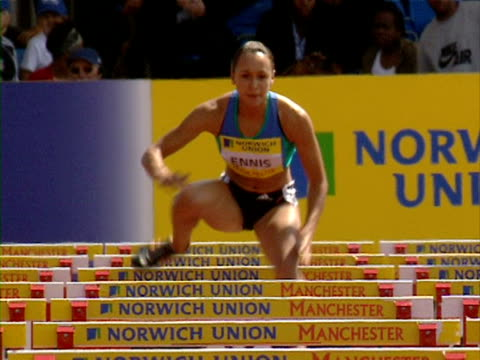 Jessica Ennis wins the 100m Hurdles at the Norwich Union UK Championships