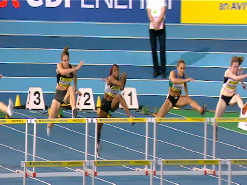 Jessica Ennis wins the Women's 100m hurdles during the 2008 Norwich Union World Trials