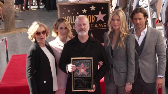 jessica lange sarah paulson ryan murphy brad falchuk and gwyneth paltrow at the ryan murphy honored with a star on the hollywood walk of fame on... - walk of fame stock-videos und b-roll-filmmaterial