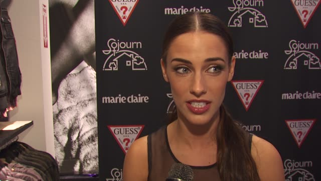 Jessica Lowndes on what brings her out tonight what she thinks about Guess Ella getting involved with this cause her thoughts on the design what...
