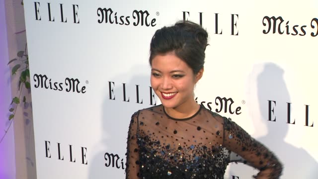 jessica lu at elle magazine and sarah hyland hosts songbirds' miss me album release party on 8/9/12 in los angeles ca - cd発売点の映像素材/bロール