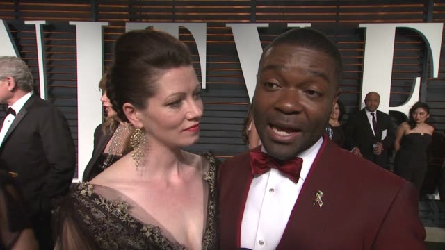 interview jessica oyelowo and david oyelowo at the 2015 vanity fair oscar party hosted by graydon carter at the wallis annenberg center for the... - wallis annenberg center for the performing arts stock videos and b-roll footage