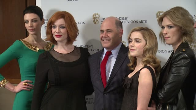jessica paré christina hendricks matthew weiner vincent slattery kiernan shipka vincent kartheiser january jones and jon hamm at bafta new york... - january jones stock videos & royalty-free footage