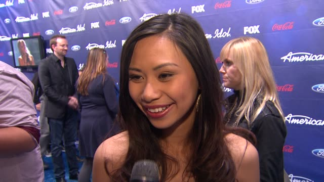 jessica sanchez on how she feels about tonight at meet the american idol judges finalists on 3/1/2012 in los angeles ca - jessica sanchez stock videos and b-roll footage