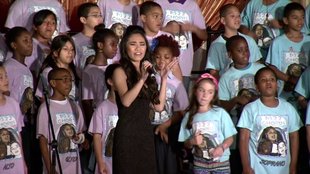 performance jessica sanchez performs with kids from ps22 at the trevor project's 2013 trevorlive event honoring cindy hensley mccain in ny on june 17... - jessica sanchez stock videos and b-roll footage