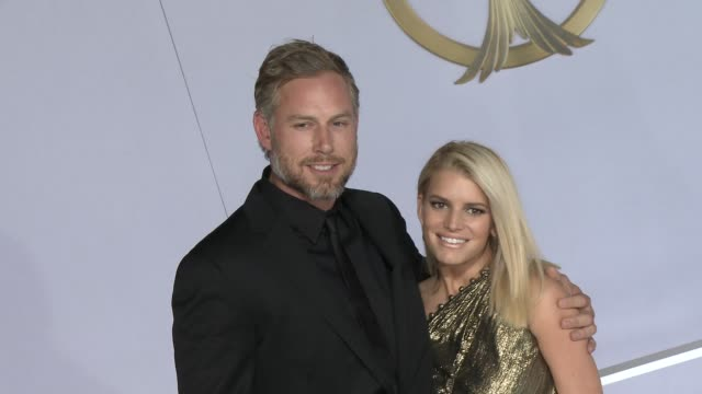 """jessica simpson and eric johnson at """"the hunger games: mockingjay - part 1"""" los angeles premiere at nokia theatre l.a. live on november 17, 2014 in... - jessica simpson stock videos & royalty-free footage"""