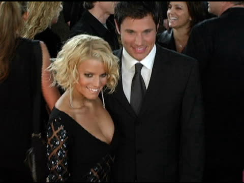 jessica simpson and nick lachey at the 2005 people's choice awards arrivals at the pasadena civic auditorium in pasadena, california on january 10,... - jessica simpson stock videos & royalty-free footage