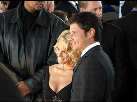 jessica simpson and nick lachey at the 2005 people's choice awards arrivals at the pasadena civic auditorium in pasadena, california on january 10,... - people's choice awards stock videos & royalty-free footage