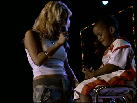jessica simpson at the shaqtacular viii at barker hanger in santa monica, california on september 20, 2003. - jessica simpson stock videos & royalty-free footage