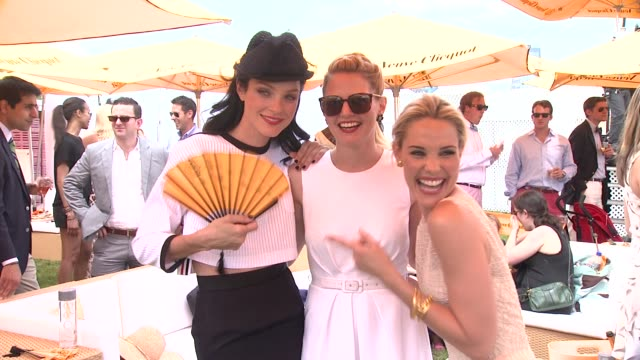 jessica stam jennifer morrison and leslie bibb at the fifth annual veuve clicquot polo classic on 6/02/2012 in new york ny united states - 動物を使うスポーツ点の映像素材/bロール