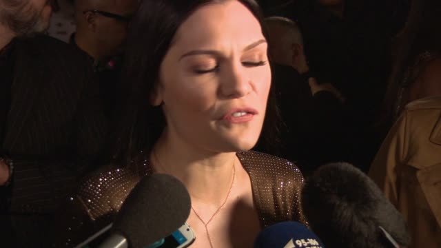 jessie j on her excitement for performing at the awards, her current happiness, flying the british flag abroad and neil 1d's marriage proposal at... - wembley arena stock videos & royalty-free footage