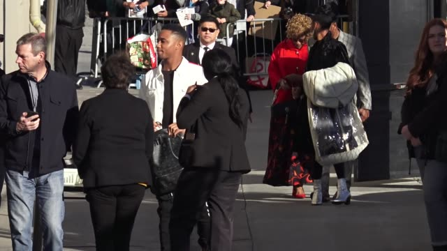 jessie t. usher arrives at jimmy kimmel live at el capitan theater in hollywood in celebrity sightings in los angeles, - アッシャー点の映像素材/bロール