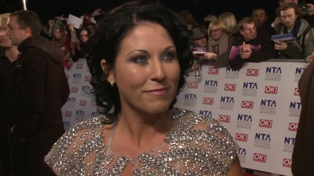 jessie wallace on the eastender's story lines being back at eastender's farting burping and more at the national television awards at london england - furzen stock-videos und b-roll-filmmaterial