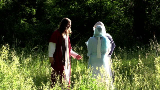 Jesus and disciples walk in sunny field