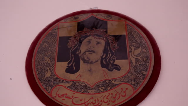jesus icon with arabic script in christian town of maaloula in syria - arabic script stock videos & royalty-free footage