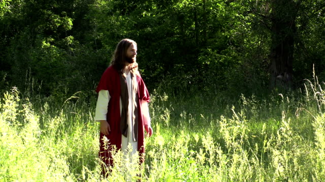 Jesus prays with disciples in sunny field
