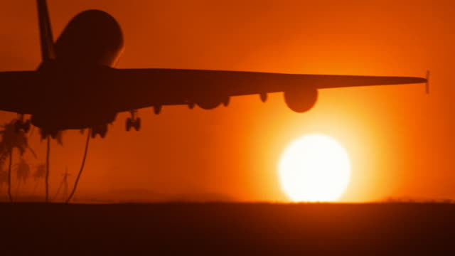 jet airplane landing in africa with big golden sunset sun - silhouette stock videos & royalty-free footage