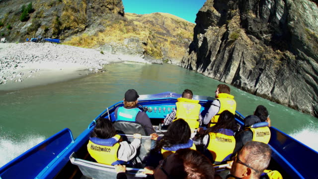 jet boat adventure shotover river canyon new zealand - speed boat stock videos & royalty-free footage