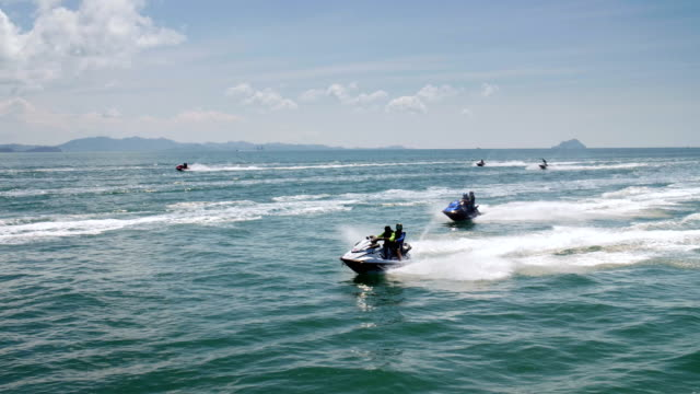 jet boats on andaman sea slow motion - jet boating stock videos & royalty-free footage