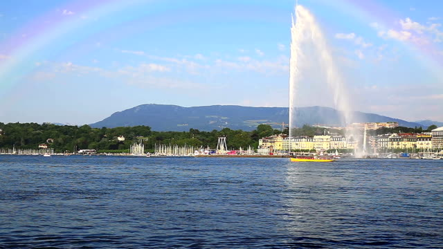 """""""Jet d'eau"""" Brunnen in Genf mit Regenbogen"""